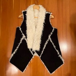 Jackets & Blazers - Faux shearling black and white reversible vest